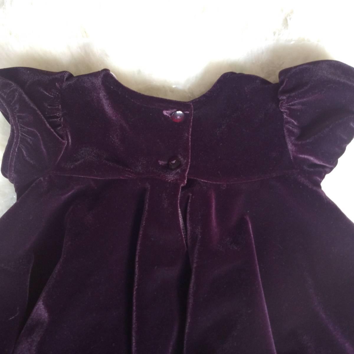 美品 セット イギリス 英国 ジョンルイス ベビー 80cm オフホワイト ケープ パープル 紫 ベルベット ワンピース フォーマル 結婚式 発表会_画像5