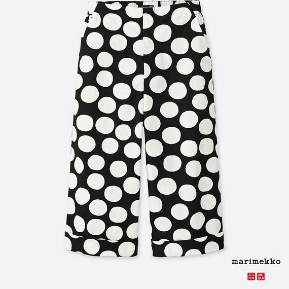 【サイズM】ユニクロ×マリメッコ ワイドクロップドパンツ ブラック ドット uniqlo Marimekko one piece dot tote bag ウニッコ 水玉 UT_画像1