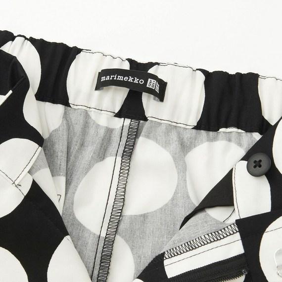 【サイズM】ユニクロ×マリメッコ ワイドクロップドパンツ ブラック ドット uniqlo Marimekko one piece dot tote bag ウニッコ 水玉 UT_画像3