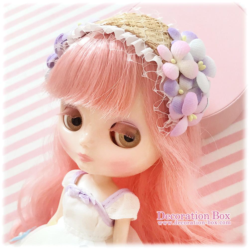 ミディブライス サイズ★手染め布花 フラワーヘッドドレス ピンク&水色&紫★Decoration Box★Blythe