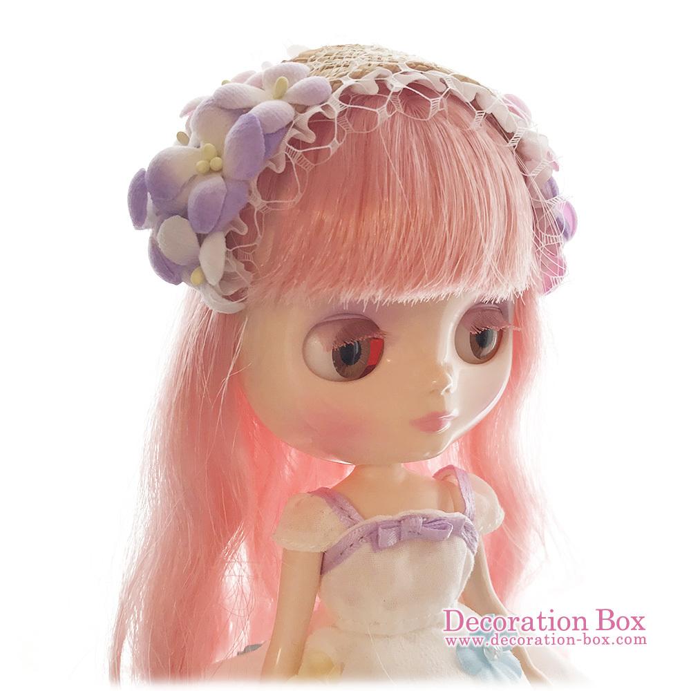 ミディブライス サイズ★手染め布花 フラワーヘッドドレス ピンク&水色&紫★Decoration Box★Blythe_画像3