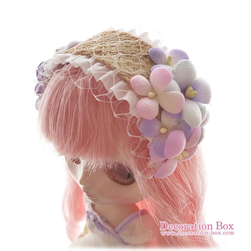 ミディブライス サイズ★手染め布花 フラワーヘッドドレス ピンク&水色&紫★Decoration Box★Blythe_画像7