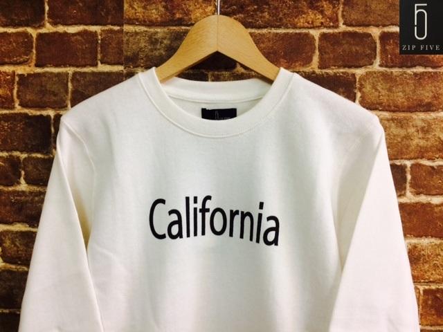 ★表記S/新品!CALIFORNIA.カリフォルニアプリント.ZIP FIVE.スウェット.白.サーフサーファー.西海岸アメカジスタイル.配色◎.サファリ/Y_画像1