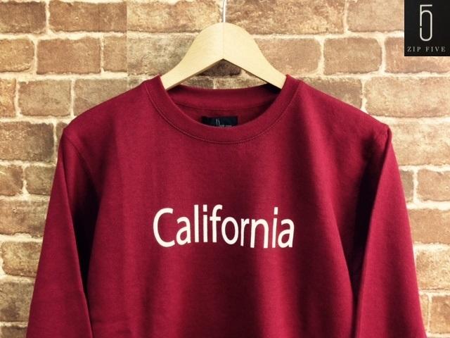 ★表記S/新品!CALIFORNIA.カリフォルニアプリント.ZIP FIVE.スウェット.WINE.サーフサーファー.西海岸アメカジスタイル.配色◎.サファリ/Y_画像1