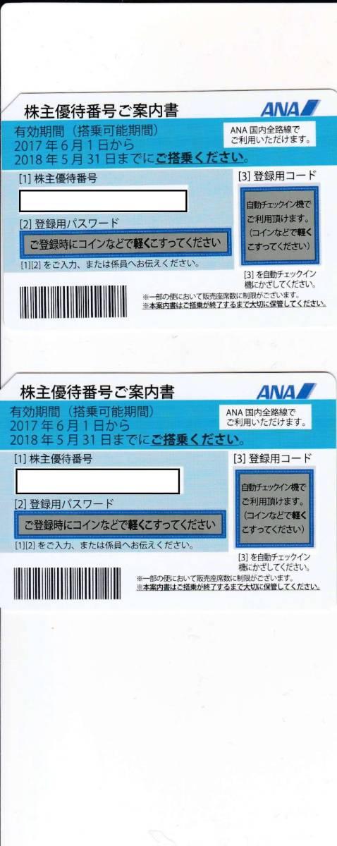 ANA株主優待券2枚【送料無料】有効期限2018.05.31