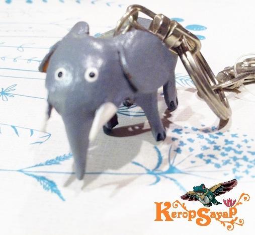 革製 灰色ゾウさんキーホルダーS-GY レザークラフト皮 ハンドメイド手作り ぞう象エレファント アニマル動物 ブサカワ癒し系♪_画像7