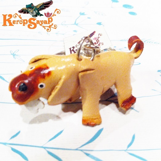 革製 ワンコキーホルダーS-NT レザークラフト ハンドメイド手作り 皮 犬いぬイヌDog アニマル動物 ブサカワ癒し系♪_画像1
