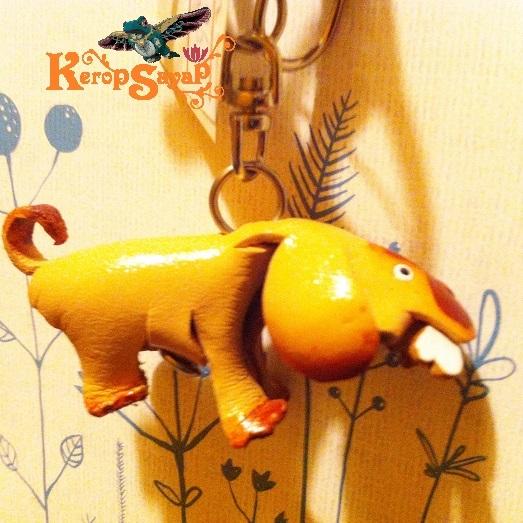 革製 ワンコキーホルダーS-NT レザークラフト ハンドメイド手作り 皮 犬いぬイヌDog アニマル動物 ブサカワ癒し系♪_画像6