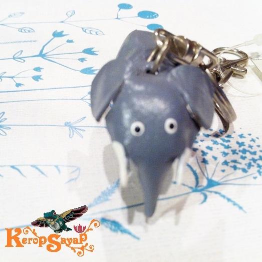 革製 灰色ゾウさんキーホルダーS-GY レザークラフト皮 ハンドメイド手作り ぞう象エレファント アニマル動物 ブサカワ癒し系♪_画像5