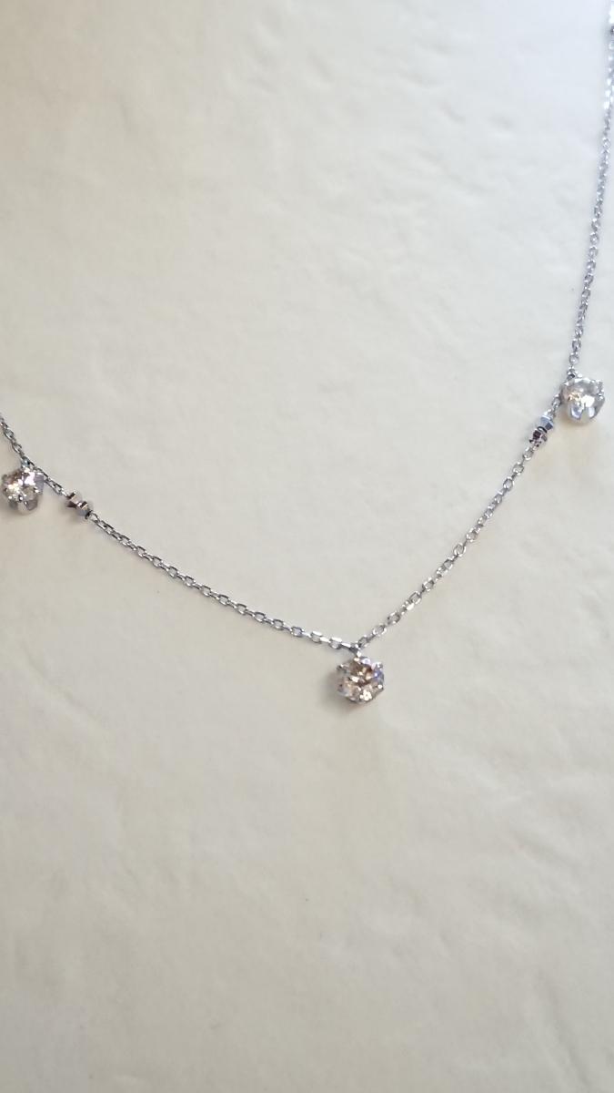 ◆新品◆ Pt850 ダイヤ 3石 計0.5ct ステーションネックレス_画像1