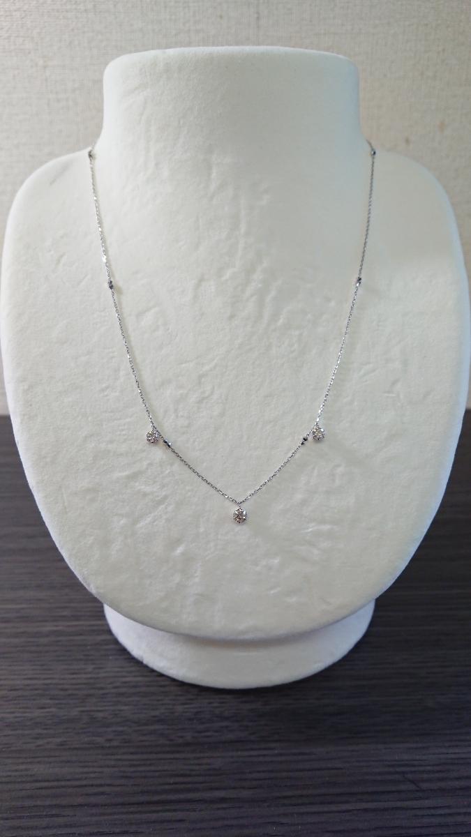 ◆新品◆ Pt850 ダイヤ 3石 計0.5ct ステーションネックレス_画像2