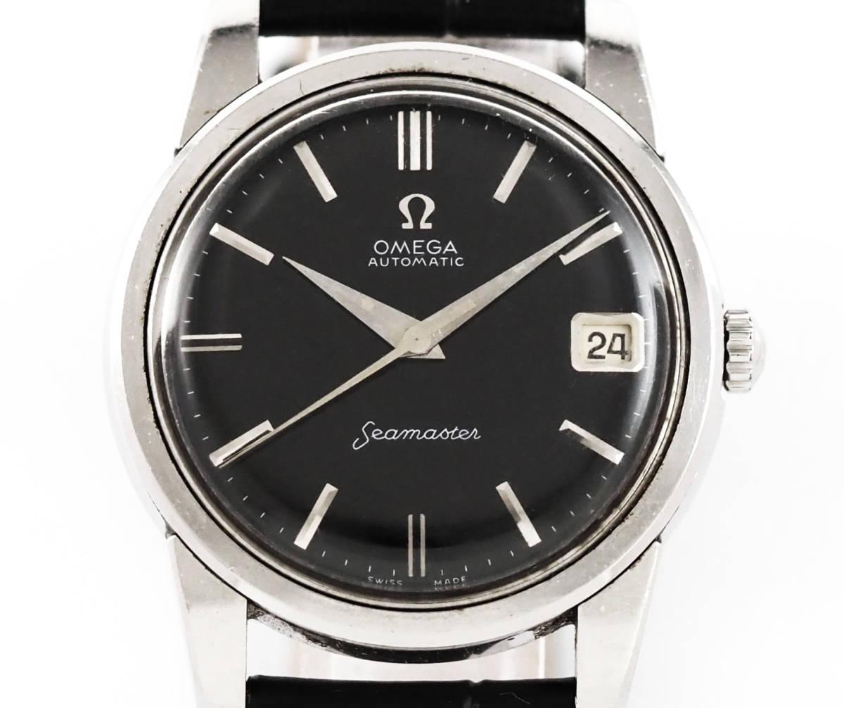 オメガ シーマスター Cal.562 自動巻き ブラック メンズ腕時計 OMEGA Seamaster AUTOMATIC 黒文字盤 オートマチック 動作確認済み