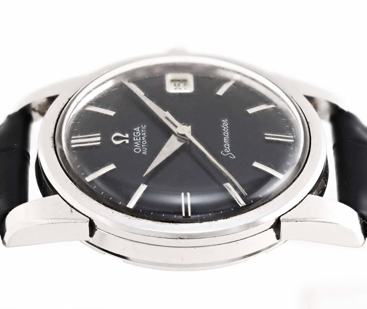 オメガ シーマスター Cal.562 自動巻き ブラック メンズ腕時計 OMEGA Seamaster AUTOMATIC 黒文字盤 オートマチック 動作確認済み_画像5
