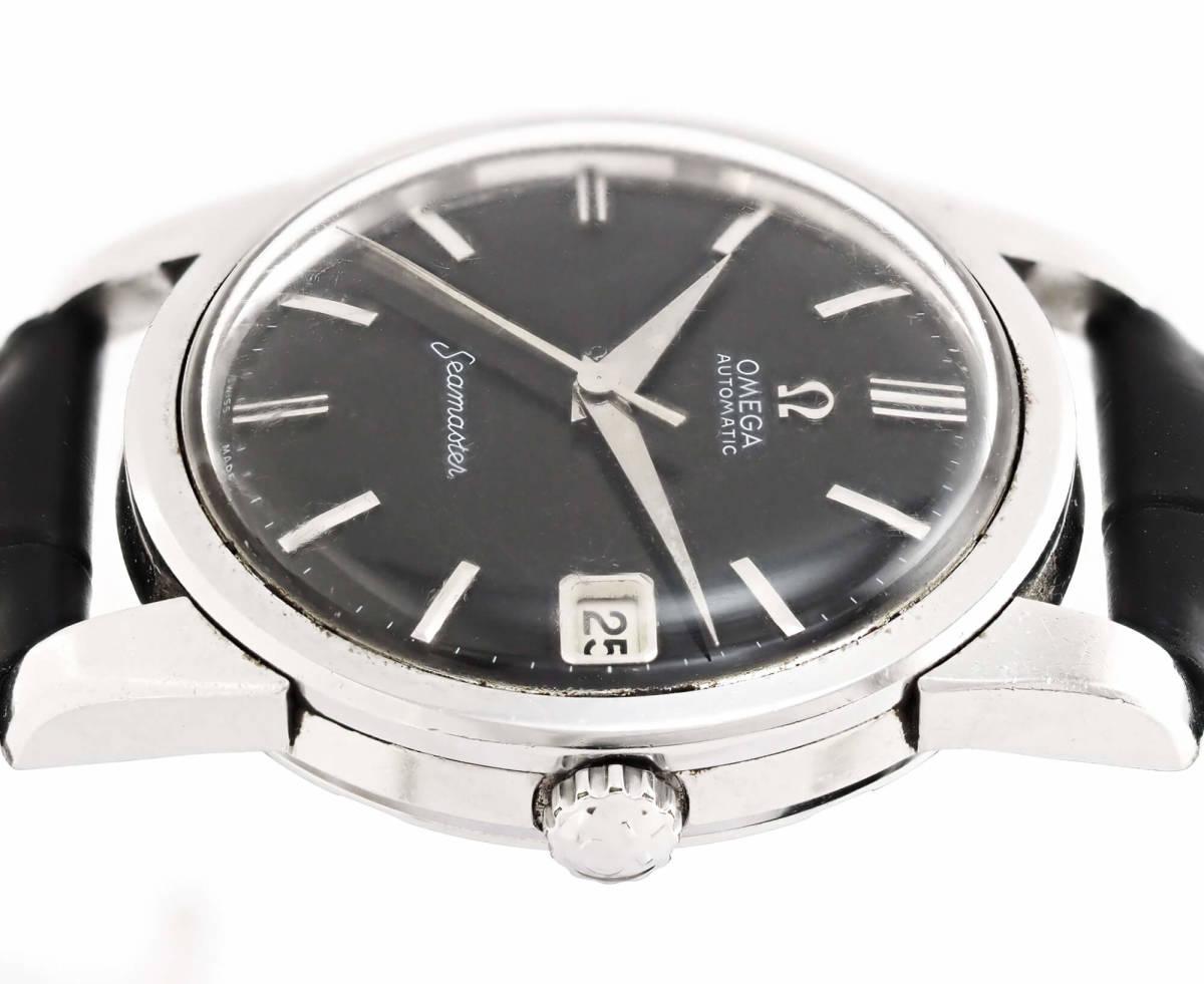 オメガ シーマスター Cal.562 自動巻き ブラック メンズ腕時計 OMEGA Seamaster AUTOMATIC 黒文字盤 オートマチック 動作確認済み_画像4