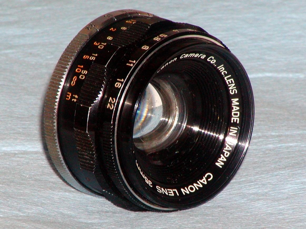 Canon 35mm F2 Ⅰ型 Lマウント ライカスクリュー L39 距離計用 キヤノン オリジナルの 銀枠フィルター/革ケース/後キャップ が付属_画像2