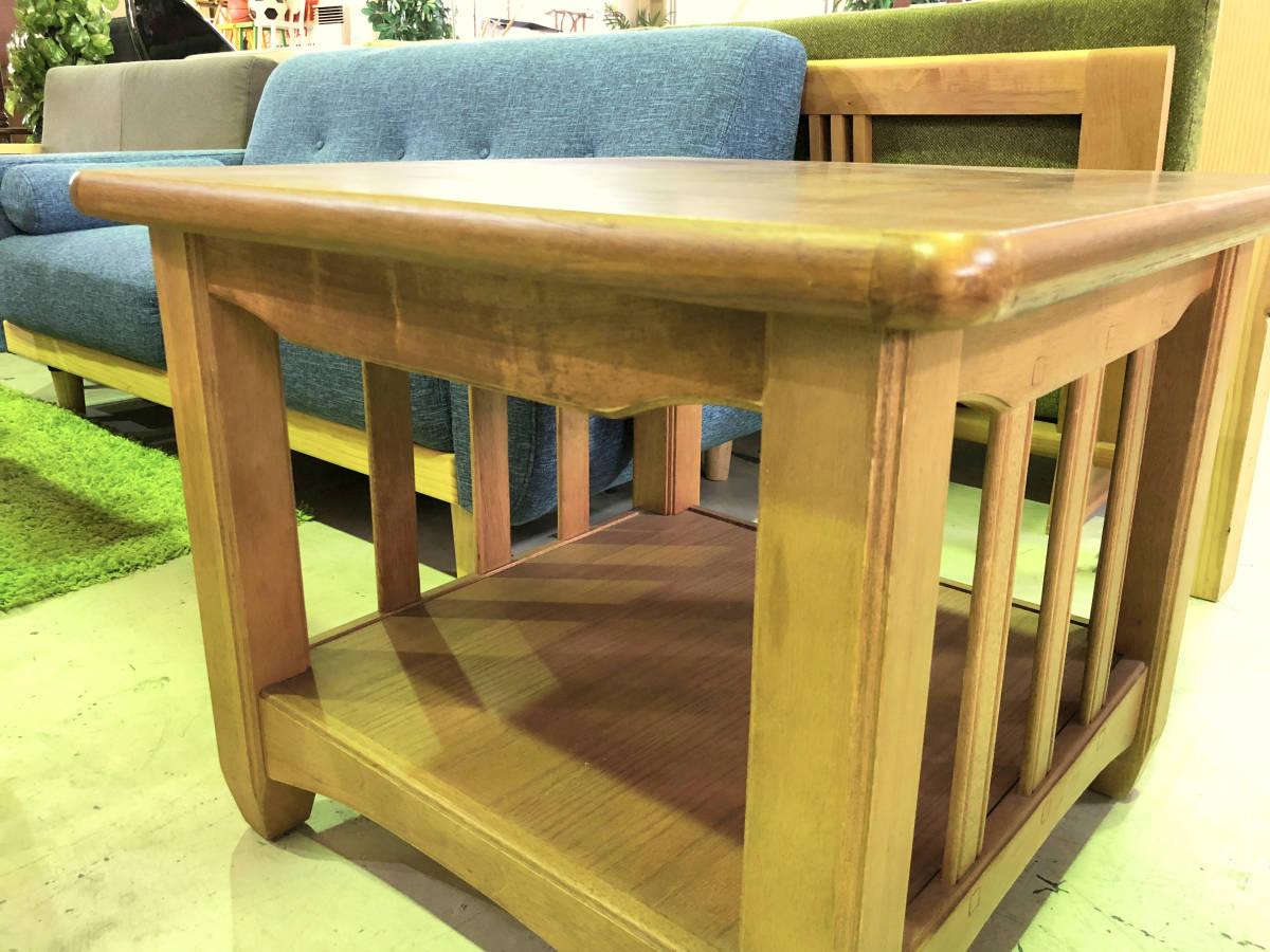 【天板の模様がかわいいセンターテーブル】サイドテーブル アメリカン カントリー 木製 ナチュラル リビング 収納付きで便利_画像2