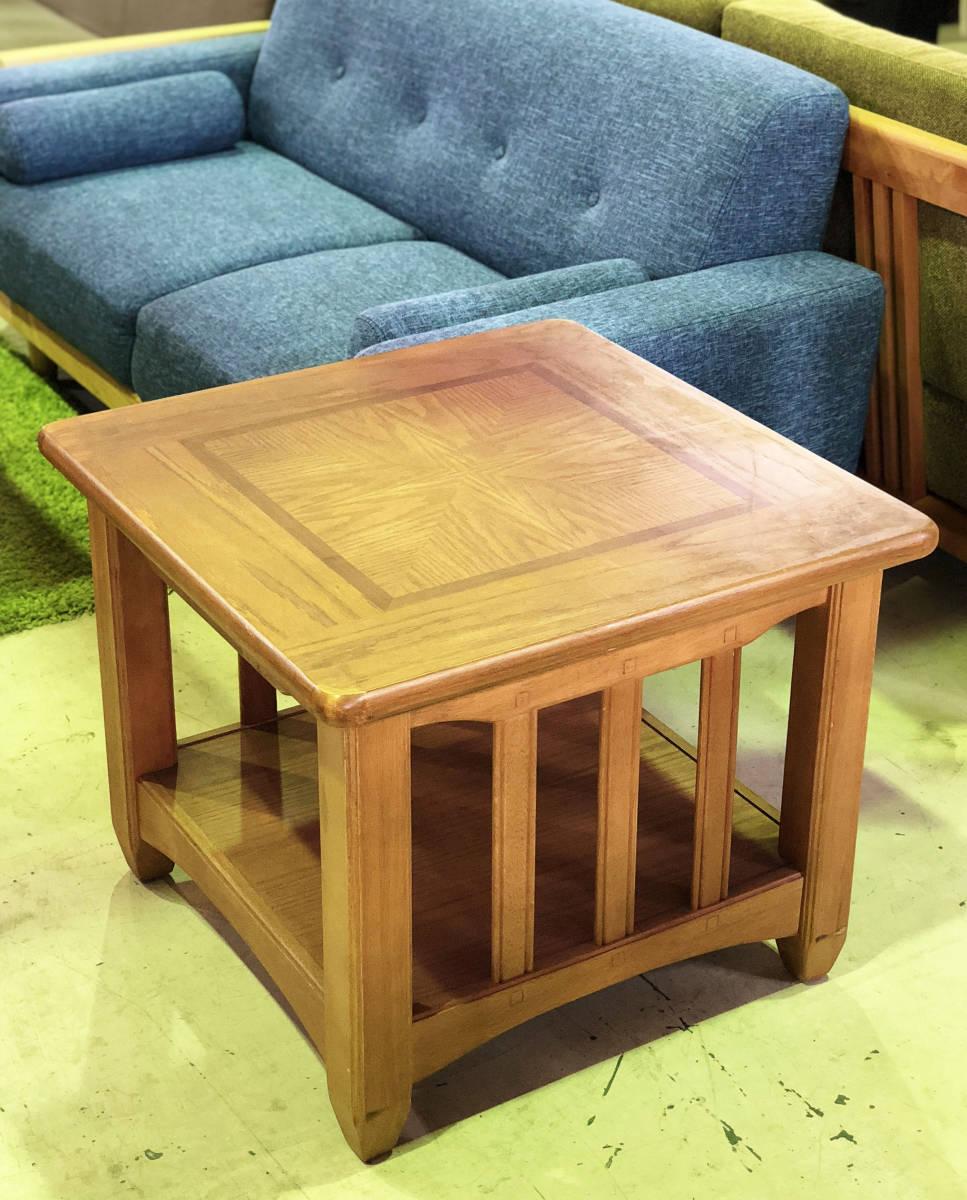 【天板の模様がかわいいセンターテーブル】サイドテーブル アメリカン カントリー 木製 ナチュラル リビング 収納付きで便利_画像1