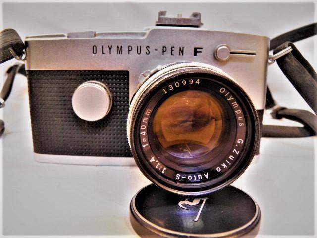 ・優良古物 オリンパスペンF+レンズ ズイコー 1:1.4 f=40㎜ フード、ソフトケース付 稼動品