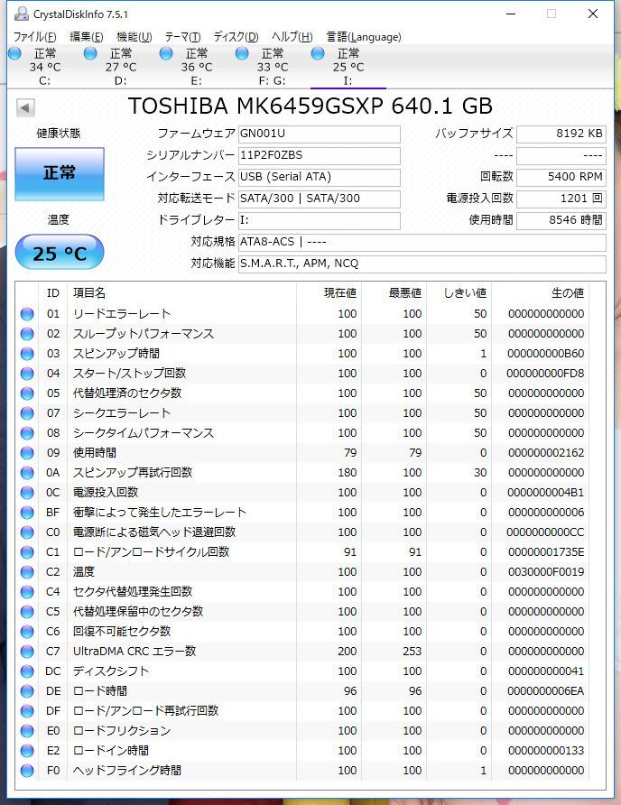 ★SATA 2.5インチ HDD TOSHIBA 640GB L1 MK6459GSXP