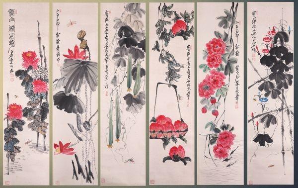 【掛け軸】 大珍品十二幅「花果蟲図 齊白石 號借山吟館主者」中国 近代画家 肉筆保證 唐