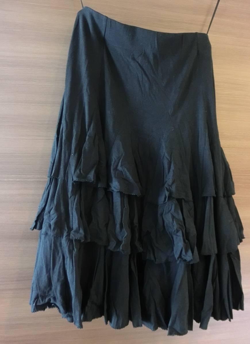 ラルフローレン フリルスカート 黒 百貨店購入 S 未使用_画像1