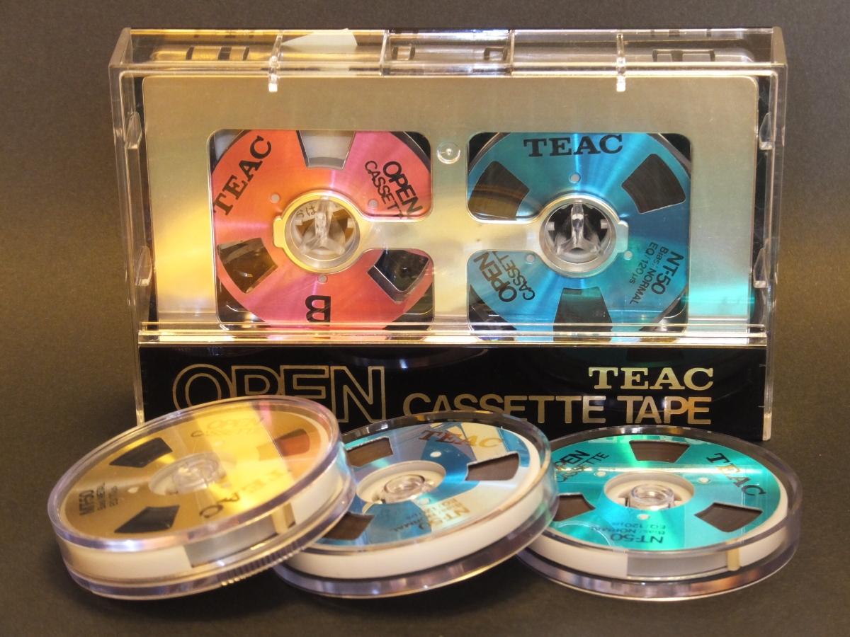 中古 使用済 TEAC オーカセ オープンリール風 リール交換式 カセットテープ NT50ノーマルポジション×3 MT50メタルポジション×1送料込