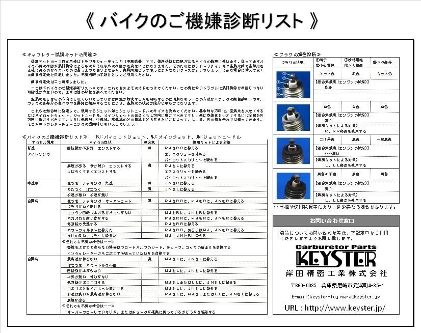 ■ FS-5340N  GSX-R1100 GHJ BST34SS UKモデル 1986-1988 キャブレター リペアキット キースター KEYSTER 燃調キット 4_画像4