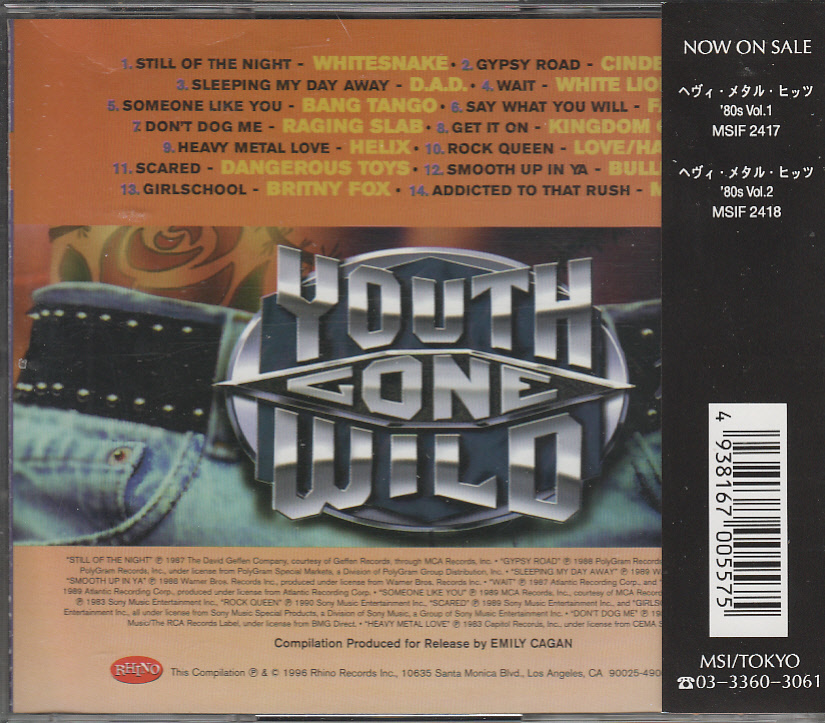 ♪V.A/ヘヴィ・メタル・ヒッツ`80s Vol.3/YOUTH GONE WILD-HEAVY METAL HITS OF THE'80s帯付国内盤仕様_画像2