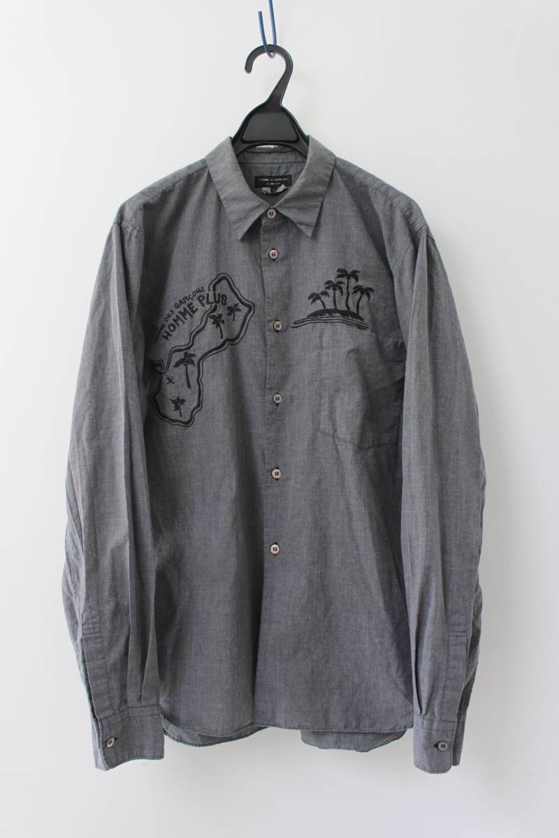 SALE コムデギャルソンオムプリュス ロゴ&ヤシの木 刺繍シャツ 製品染め COMME des GARCONS HOMME PLUS AD2013_画像1