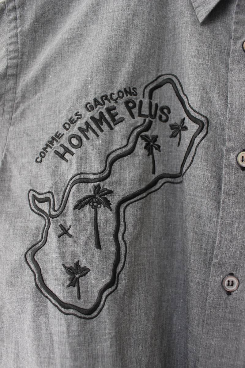 SALE コムデギャルソンオムプリュス ロゴ&ヤシの木 刺繍シャツ 製品染め COMME des GARCONS HOMME PLUS AD2013_画像2