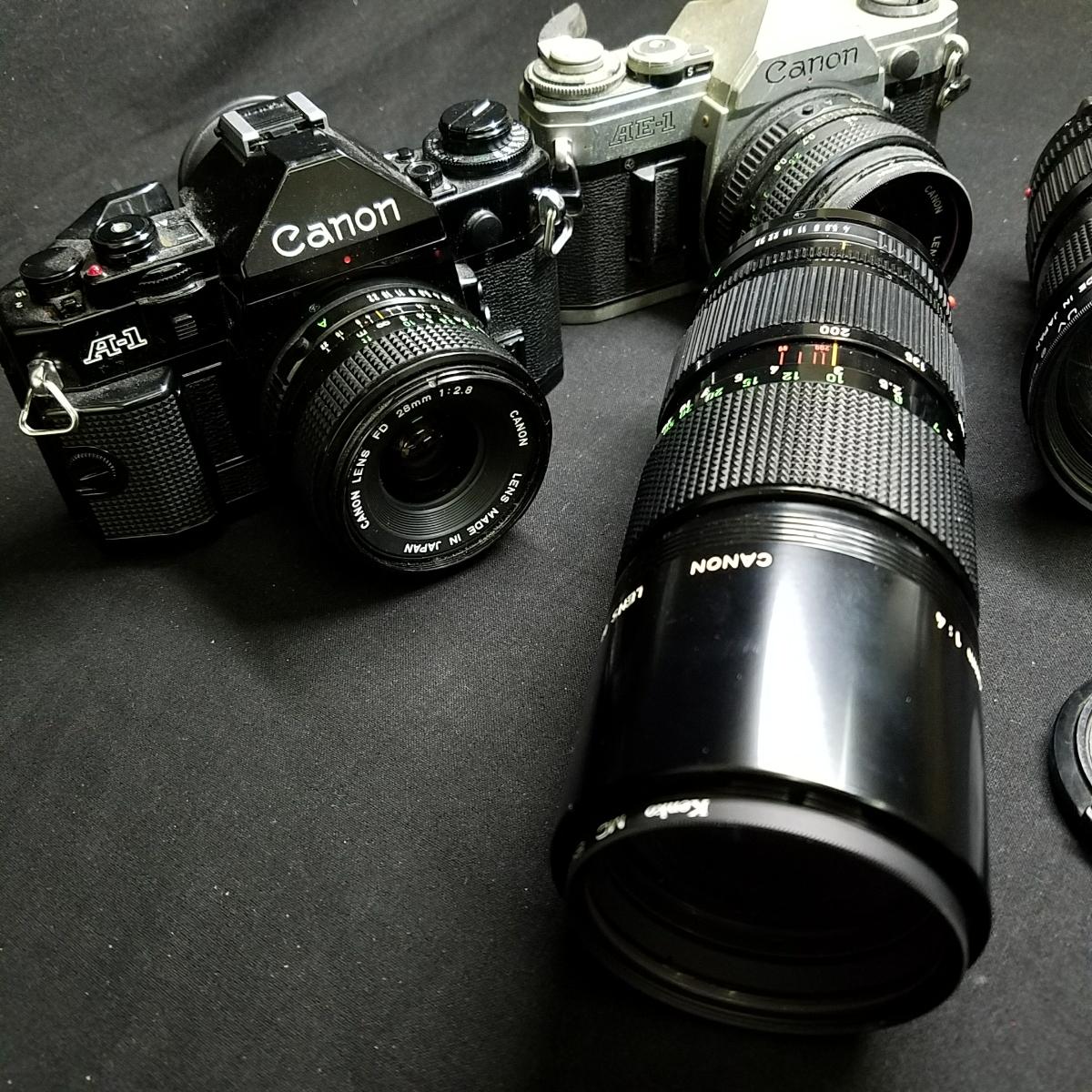 カメラ 光学機器 一眼レフ アンティークカメラ フィルムカメラ プロ仕様 キャノン CANON A-1 AE-1 レンズ 望遠  s-0005_画像3