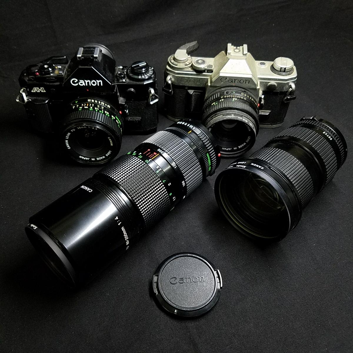 カメラ 光学機器 一眼レフ アンティークカメラ フィルムカメラ プロ仕様 キャノン CANON A-1 AE-1 レンズ 望遠  s-0005