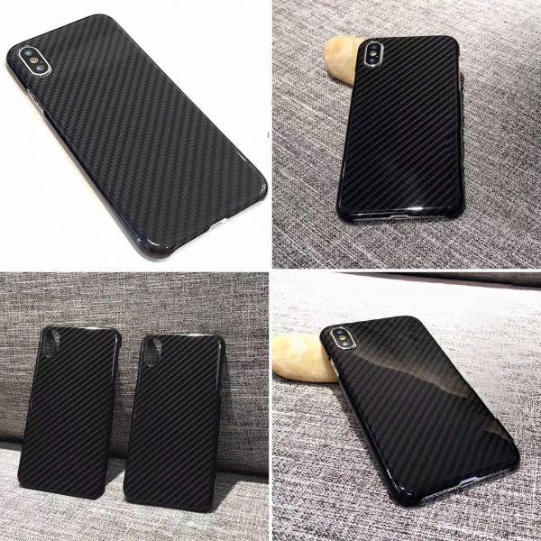 iPhoneケース 本物カーボンファイバー ケース グロスブラック リアルカーボン 希少商品 iPhone X 新品 艶あり_画像2