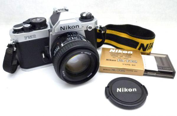 1000円~ Nikon NEW FM2 後期 ニコン Nikon AF NIKKOR 50mm F1.4 D ニッコール 付属品有 ストラップ付 042AK