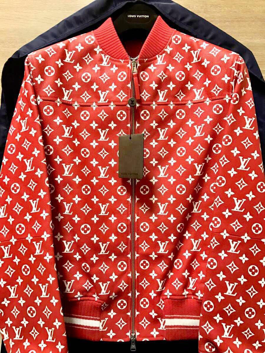 【新品未使用】LOUIS VUITTON × Supremeのコラボ商品、Leather Baseball Jacket