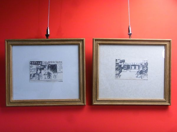〈4日落札日〉2点set【赤門】『佐野 繁次郎』作 パリの街頭風景 鉛筆画 額縁 絵画 一括売