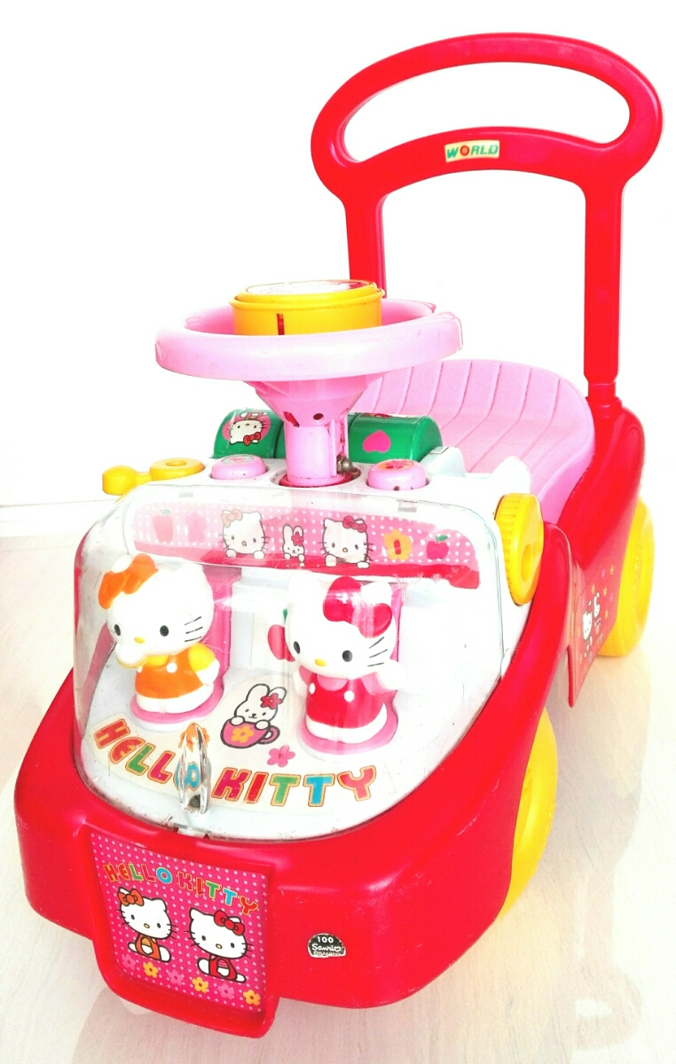hello kitty thing thing pink car pushed car vehicle car kids child