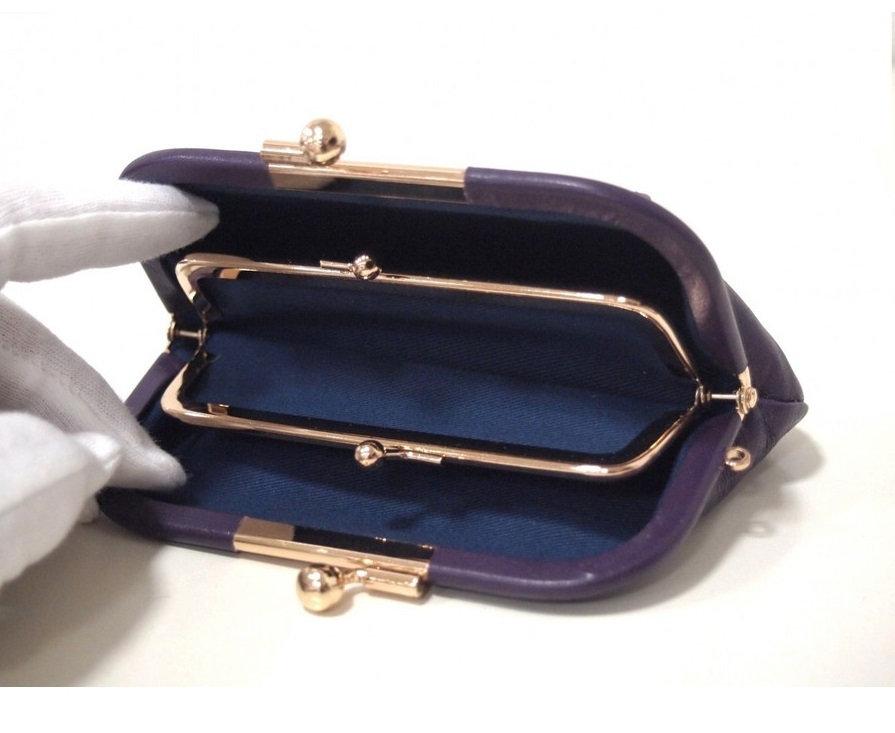 親子がま口 財布 日本製 本革 レディース メンズ 小銭入れ 新品 紫 牛革 レザー パープル 二段 見やすい カードが入る プレゼント さいふ_画像5