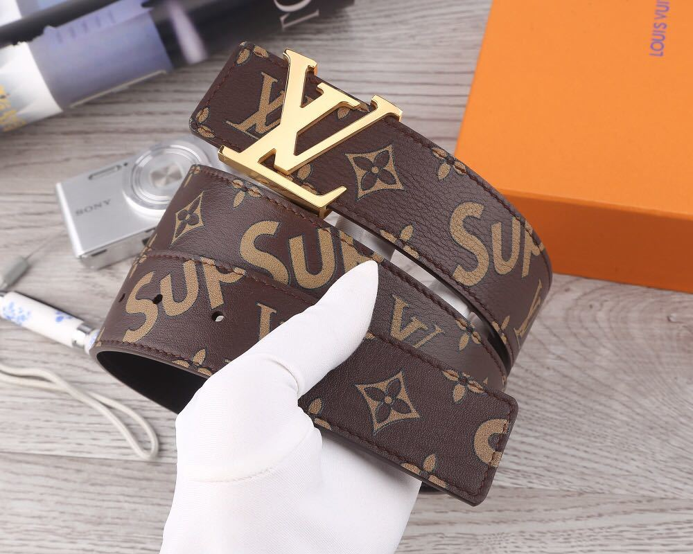 LV型 LOUIS VUITTON x Supreme? ルイヴィトン シュープリーム? 17AW LV Initiales Belt モノグラムベルト image styling Product