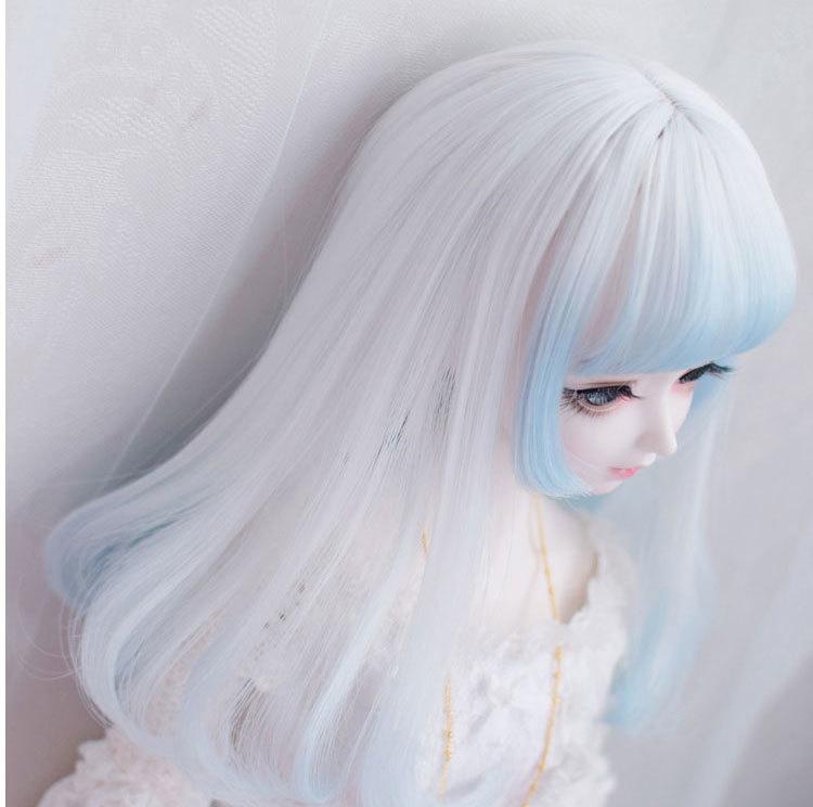 BJD用ウィッグ ドール用 球体関節人形用ウィッグ SD/小顔SD/MSDサイズ人形用 グラデーション ホワイト*ブルー パーマ 女用 佐川急便_画像2