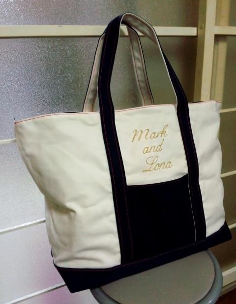 厚手帆布/良品〇マーク&ロナ MARK&LONA 多目的 大型バッグ 刺しゅうロゴ