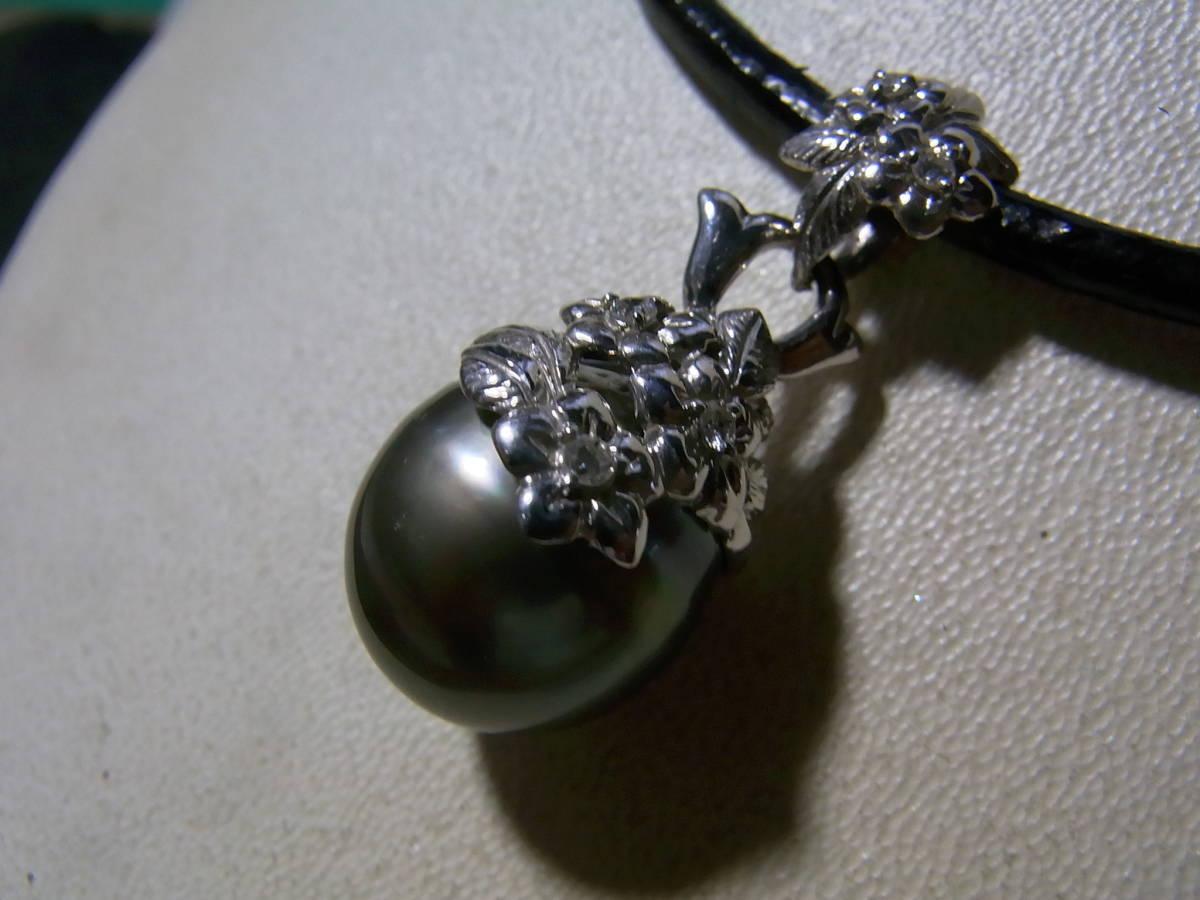 新品 k18WGダイヤ付花柄タヒチ黒蝶真珠ペンダント¥49,800_画像2