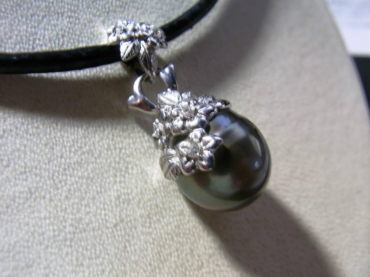 新品 k18WGダイヤ付花柄タヒチ黒蝶真珠ペンダント¥49,800_画像3