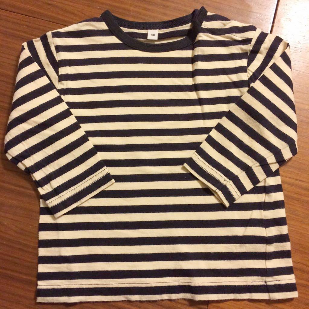 ★『無印良品 ボーダーカットソー Tシャツ 黒×生成り 80』男の子 女の子 キッズ 子供 無印