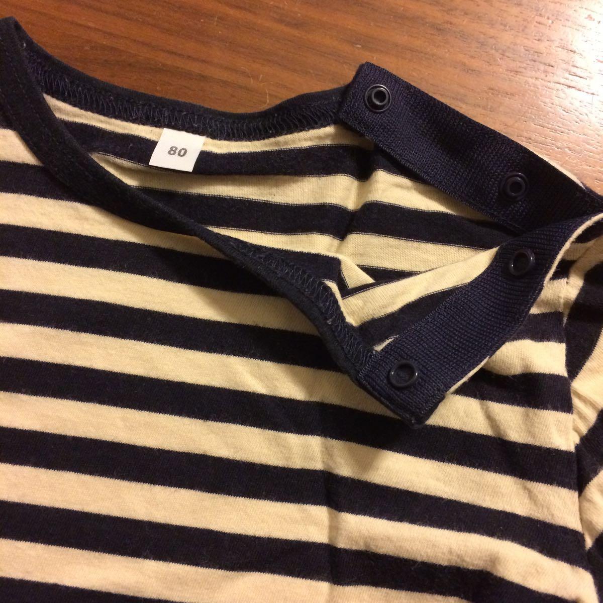 ★『無印良品 ボーダーカットソー Tシャツ 黒×生成り 80』男の子 女の子 キッズ 子供 無印_画像3
