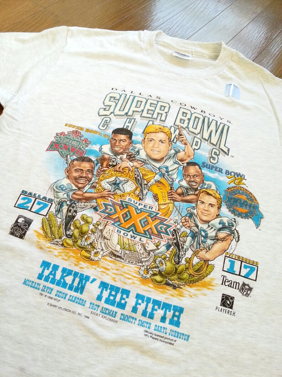 ★☆DEAD STOCK 90s VINTAGE USA製 DALLAS COWBOYS SUPER BOWL 96sCHAMPIONS 記念Tシャツ NFL NFC スーパーボウル オールド ビンテージ☆★_画像7