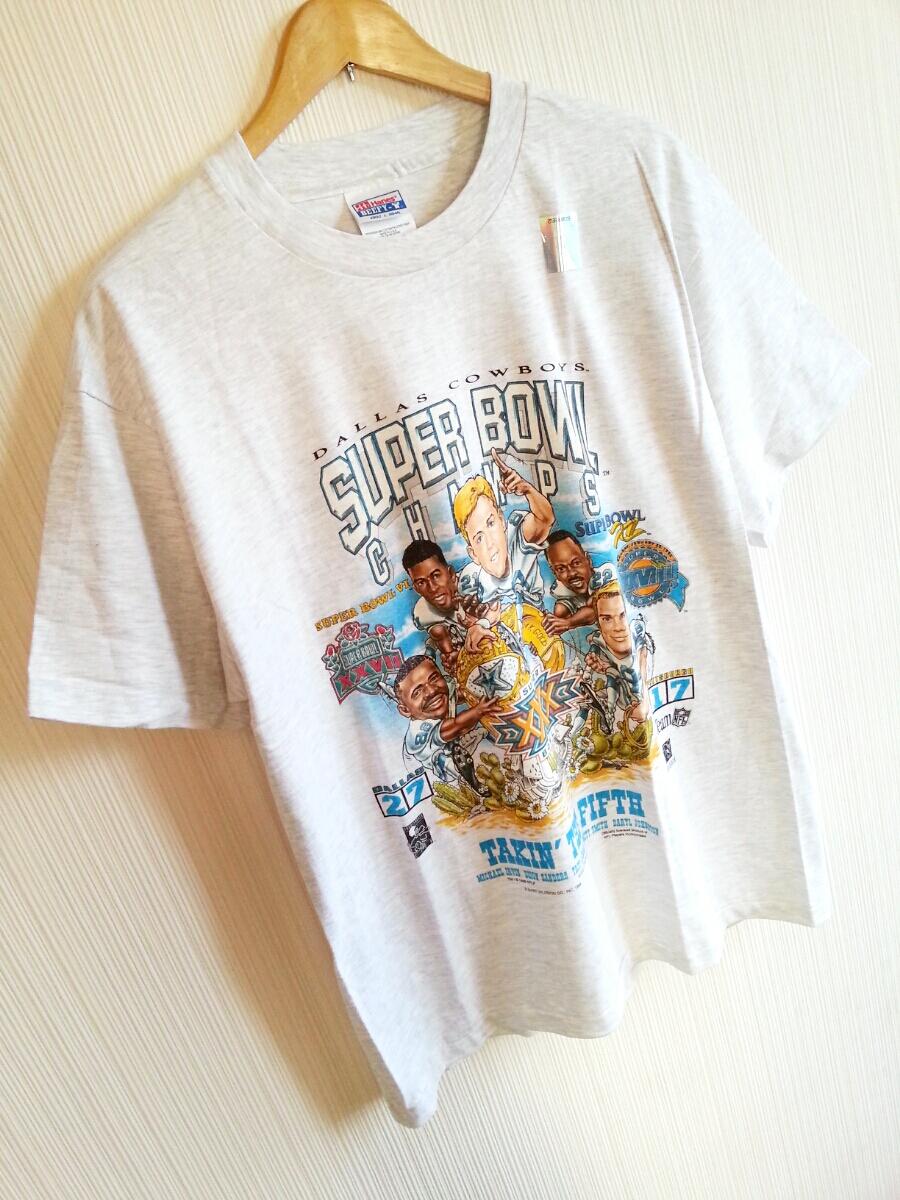 ★☆DEAD STOCK 90s VINTAGE USA製 DALLAS COWBOYS SUPER BOWL 96sCHAMPIONS 記念Tシャツ NFL NFC スーパーボウル オールド ビンテージ☆★_画像4