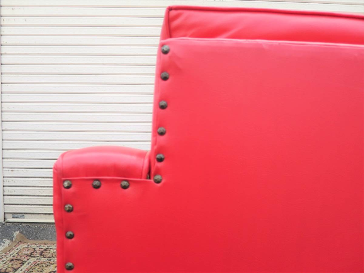 ビンテージ 60's レザーラウンジチェア&オットマン 赤 レッド ヴィンテージ US 一人掛け ソファ 店舗 什器_画像5