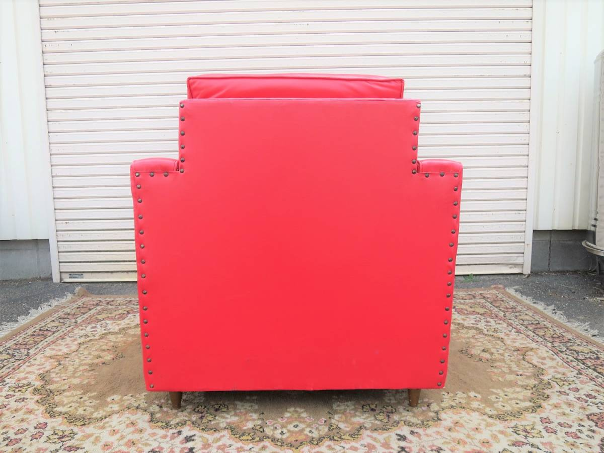 ビンテージ 60's レザーラウンジチェア&オットマン 赤 レッド ヴィンテージ US 一人掛け ソファ 店舗 什器_画像4