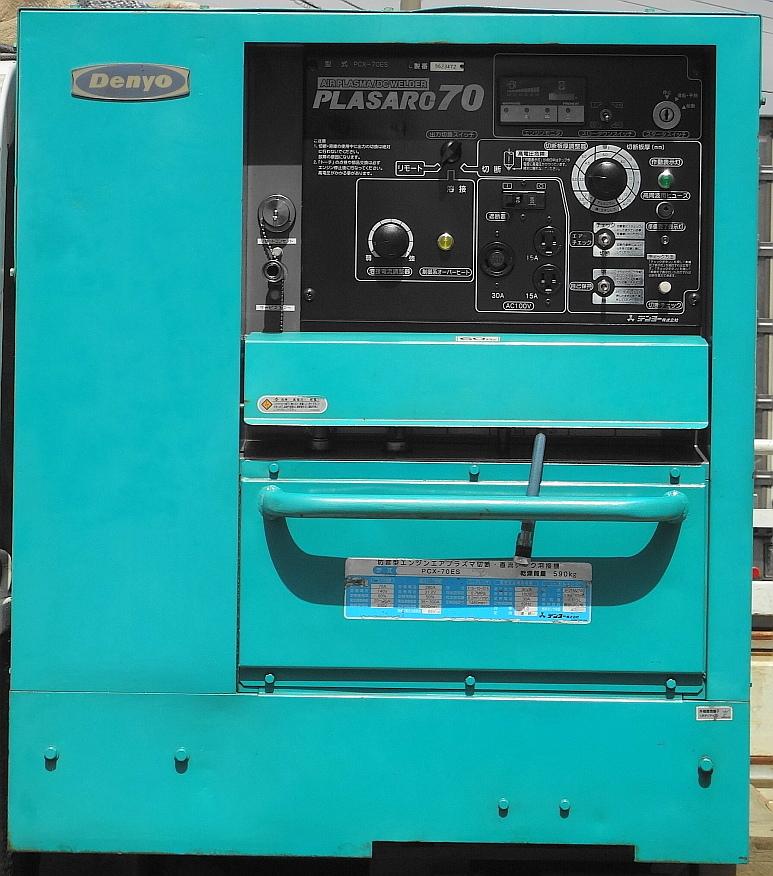 ☆★中古デンヨーPCX-70ES エアプラズマ切断機&溶接機(超低騒音型ディーゼルエンジン)★525時間☆